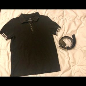 Armani Exchange Black polo and new belt